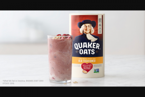 Quaker – Fiber Check  – Win Win First Prize consists of a $100.00 Pre-paid debit card