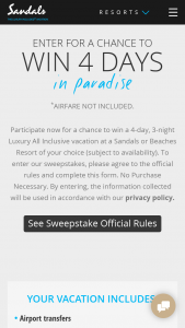 Sandals And Beaches – Giveaway Q4 2018 – Win a 4-day/3-night vacation package (for travel a year from the printed prize certificate) to a Sandals or Beaches Resort of winner's choice (excluding Sandals Royal Plantation
