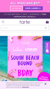 Tarte – The South Beach Bound – Win a prize package consisting of  Trip package for two (2) people
