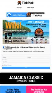Tickpick – Jamaica Classic Sweepstakes