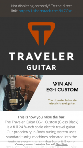 Traveler Guitars – Traveler Guitar Eg-1 Custom Sweepstakes