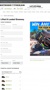 Turn 5 – Extreme Terrain Lifted And Loaded Giveaway – Win will receive up to but not exceeding $3000.00 in credit to use for the purchase of any Lift Kit available at extremeterraincom