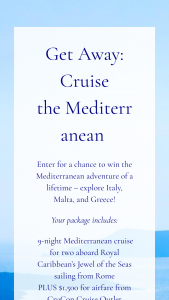 Wellness Creations – Get Away Cruise The Mediterranean Sweepstakes