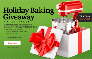 Meredith – All Recipes – Win a grand prize of a KitchenAid and a $2,500 check OR 1 of 7 minor prizes