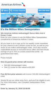 American Airlines – Million Miles – Win a $3000 cruise voucher for redemption at aacruisescom and valid for travel until March 31 2020.
