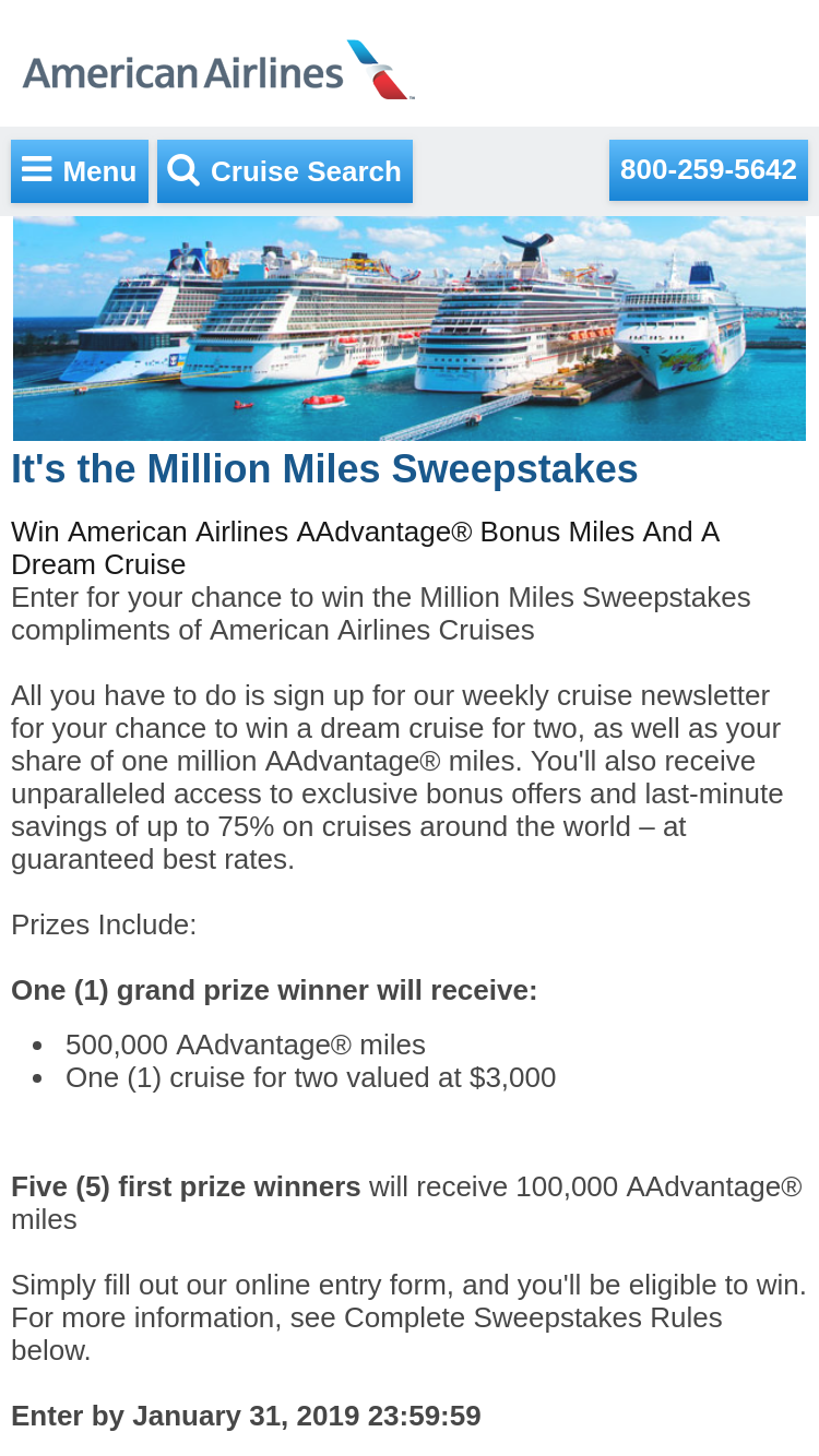 American Airlines – Million Miles – Win a $3000 cruise