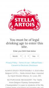 Anheuser-Busch – Stella Artois Belgium Flyaway – Win (1 total) A trip for the winner and one (1) guest to Leuven Belgium