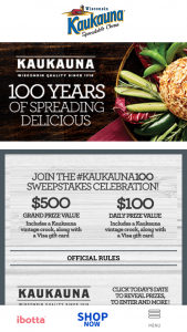 Bel Brands – #kaukauna100 # – Win a $500 VISA pre-paid debit card and a vintage Kaukauna crock (ARV $50).