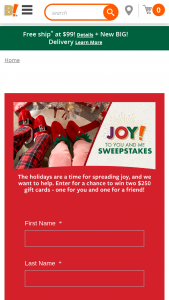 Big Lots – Joy To You And Me – Win the 2 Big Lots gift cards valued at $250 each-one for the prize winner and one for a friend