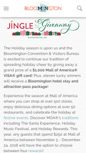 Bloomington Convention & Visitors Bureau – Jingle All The Giveaway Sweepstakes