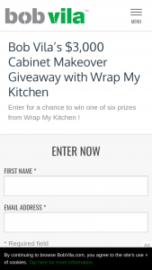 Bob Vila – $300 Cabinet Makeover Giveaway With Wrap My Kitchen – Win a $500 gift card for Wrap My Kitchen product