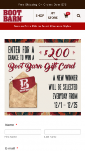 "Boot Barn – ""holiday"" – Win a $200 Boot Barn gift card"