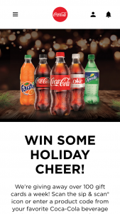 Coca-Cola – Holiday Gift Card Instant Win – Code Sweepstakes