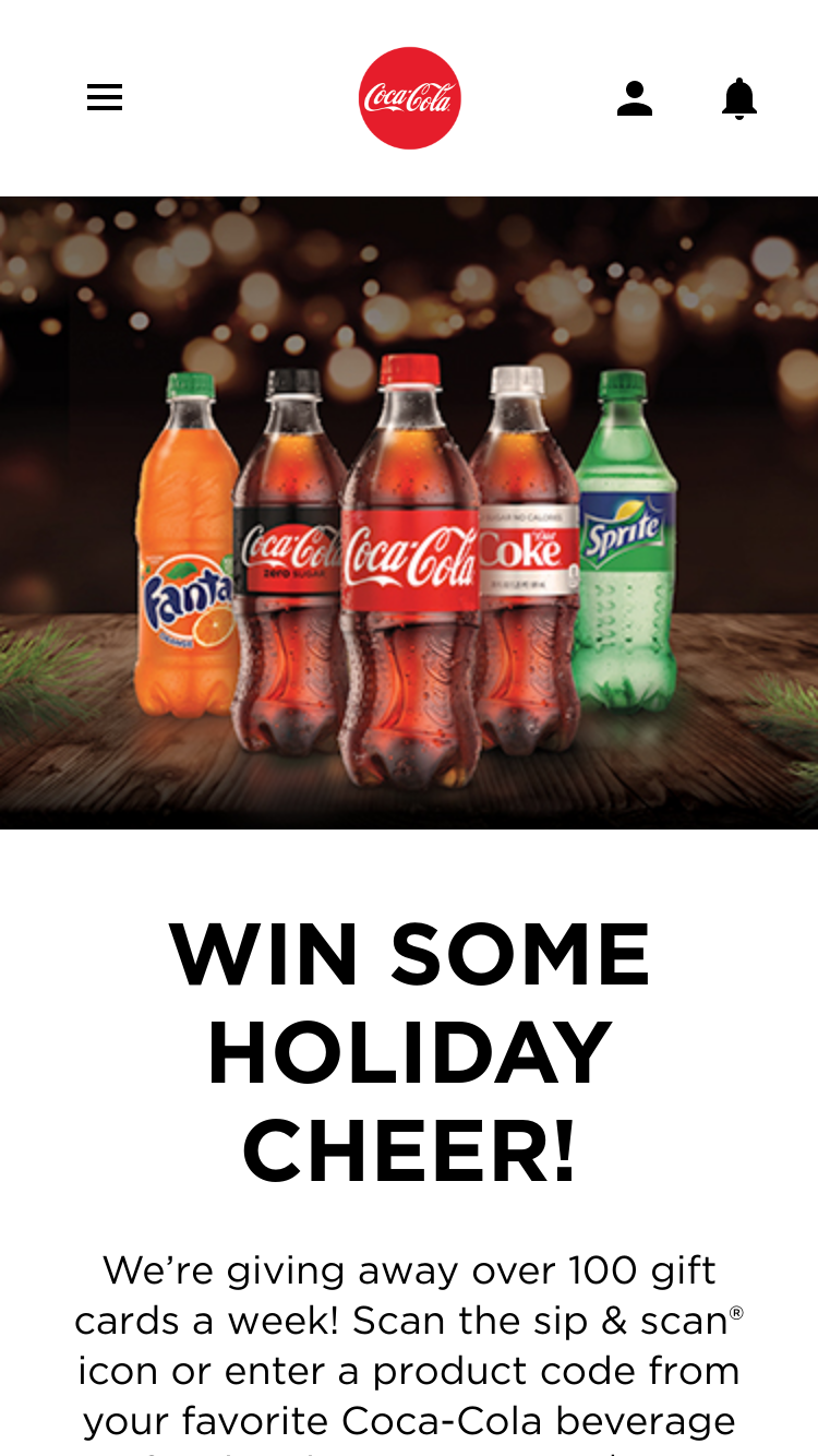 Coca-Cola – Holiday Gift Card Instant Win – Code Sweep