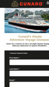 Cunard – Alaska Adventure Voyage Giveaway – Win a 10-night Alaska Cruise on Queen Elizabeth Roundtrip Vancouver