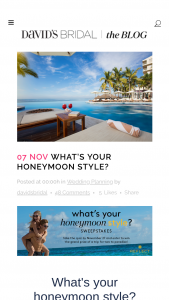 "David's Bridal & Am Resorts – Honeymoon Quiz – Win night stay for the Winner and the one (1) adult guest at Winner's choice of one (1) Reflect Resorts & Spas worth up to $1500 (""Prize"")."