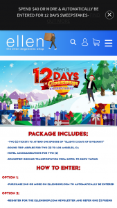 Ellen – 2018 12 Days Of Giveaways – Win the following Round trip coach travel for the Prize winner and one travel guest selected by that Prize winner from a major US or Canada airport nearest the Prize winner's home to Los Angeles