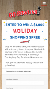 Gobowlingcom – Holiday Shopping Spree – Win a $1000 Gift Card