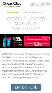 Great Clips – Great Hollywood Adventure – Win four (4) days