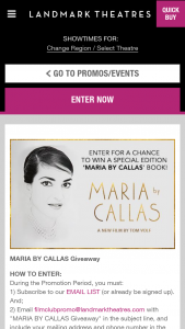 Landmark Theaters – Maria By Callas Giveaway Sweepstakes