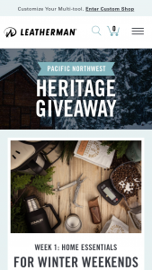 "Leatherman – Pacific Northwest Heritage Giveaway – Win entry period one (November 23 2018 – December 3 2018) ie the ""Home Essentials"" prize is valued at approx"
