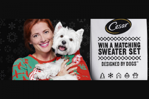 Mars Petcare – Cesar Twinning Holiday Sweater  – Win a prize (two thousand two hundred (2200) in the Sweepstakes and one thousand five hundred (1500) in the Game).