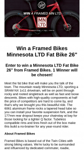 Mtbr – Framed Bikes Minnesota Ltd Fat Bike 26″ Sweepstakes
