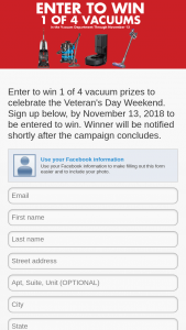 Nebraska Furniture Mart – Veteran's Day Vacuum Sweepstakes