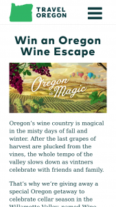 Oregon Tourism – Magical Oregon Wine Escape Sweepstakes