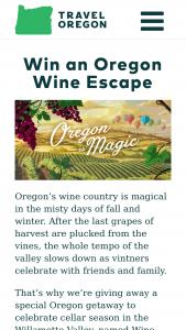 Oregon Tourism – Magical Oregon Wine Escape Sweepstakes