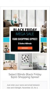 Select Blinds – $500 Black Friday Gift Card – Win $500 gift card/code to SelectBlindscom