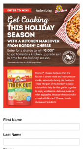 Southern Living – Borden Love Your Kitchen – Win (1) $5000 VISA prepaid card and a $900 Borden® Prize Package