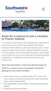 Southwest Vacations – November Sweepstakes