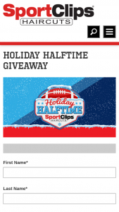Sport Clips – Holiday Halftime – Win $500 prepaid debit gift card (1) Sport Clips Swag Bag (branded backpack with tech accessories inside) and (1) haircare product bundle per winner