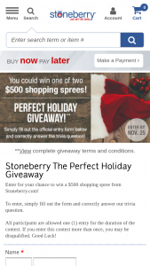 Stoneberry – The Perfect Holiday Giveaway – Win a $500 shopping spree on Stoneberrycom