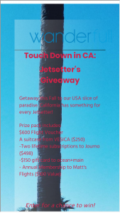 Wanderfull – Touch Down In Ca Autumn Jetsetter's Giveaway Sweepstakes