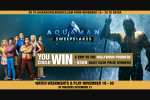 Warner Bros – The Big Bang Theory 'aquaman' – Win Roundtrip economy class airfare for the Prizewinner and one (1) guest to Los Angeles
