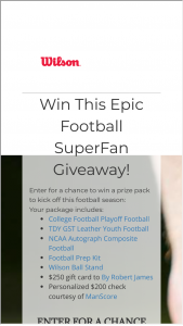 Wilson Sporting Goods – Ultimate Football Giveaway Sweepstakes