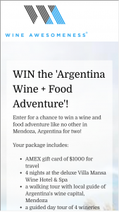 Wine Awesomeness – Wine Tour Of Mendoza Argentina Sweepstakes