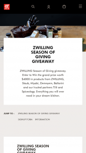 Zwilling – Season Of Giving Giveaway Sweepstakes