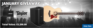 AMS – January Giveaway – Win a performing acoustic singer-songwriter's dream package valued at $3,398