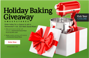 Meredith – All Recipes – Win a grand prize of a KitchenAid & a $2,500 check (total valued at $2,800) OR 1 of 7 minor prizes