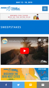 "AEG Cycling – Amgen Tour Of California Canyon Bike – Win the following One (1) Canyon 2019 Ultimate CF SL 8.0 bike (the ""Prize"") (Approximate Retail Value (""ARV"") of Prize $2299.00)."