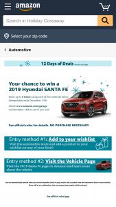 Amazon – Vehicles And Automotive Holiday Giveaway – Win Santa Fe $45000.