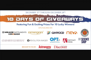 Astronomy Magazine – 10 Days Of Giveaways – Win (1) Meade ETX 125 Observer Telescope from Meade Instruments
