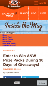 A&w – #30daysofgiveaways Sweepstakes
