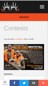 Buckmasters – 2019 Montana Whitetail Hunt Giveaway Sweepstakes