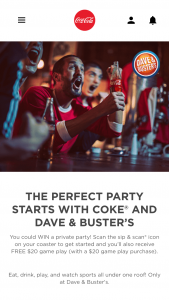 Coca-Cola – Dave & Buster's – Win party for winner and friends at a Dave & Buster's location