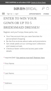 David's Bridal – Win Your Wedding – Win a $1200 David's Bridal gift card
