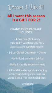 Delta Sky – Dream It Win It Sandals Resorts Vacation Giveaway – Win in this Giveaway is $1746 (USD).